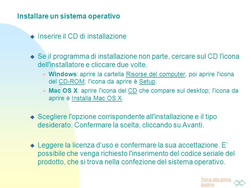 Installare un sistema operativo Inserire il CD di installazione