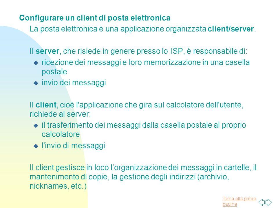 Configurare un client di posta elettronica