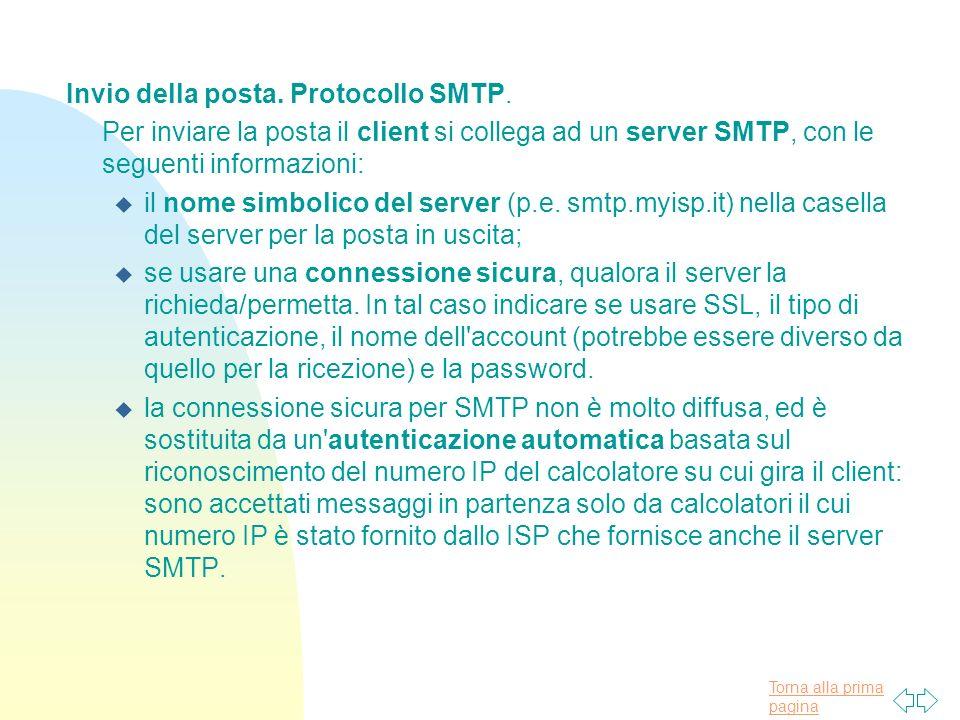 Invio della posta. Protocollo SMTP.