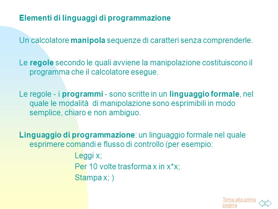 Elementi di linguaggi di programmazione