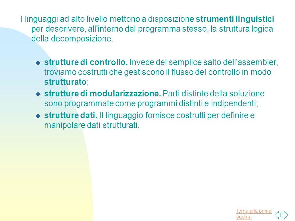 I linguaggi ad alto livello mettono a disposizione strumenti linguistici per descrivere, all interno del programma stesso, la struttura logica della decomposizione.