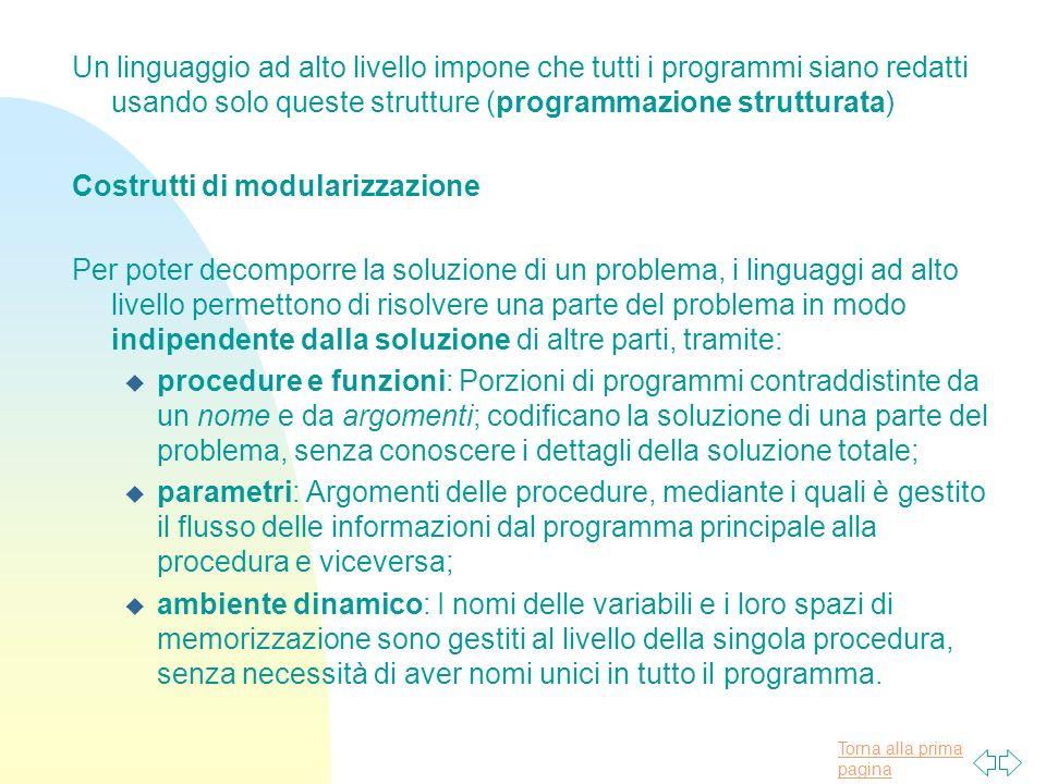 Un linguaggio ad alto livello impone che tutti i programmi siano redatti usando solo queste strutture (programmazione strutturata)