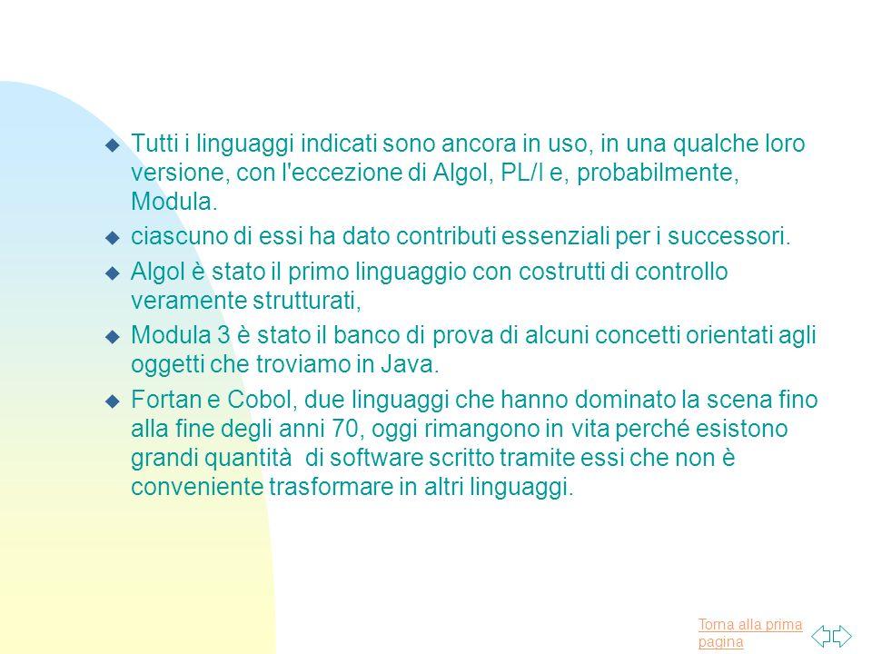 Tutti i linguaggi indicati sono ancora in uso, in una qualche loro versione, con l eccezione di Algol, PL/I e, probabilmente, Modula.