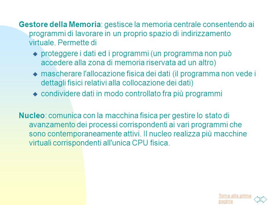 Gestore della Memoria: gestisce la memoria centrale consentendo ai programmi di lavorare in un proprio spazio di indirizzamento virtuale. Permette di