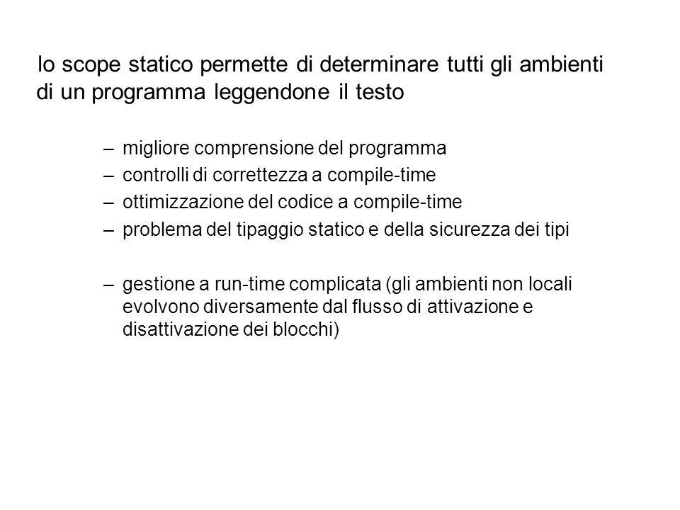 lo scope statico permette di determinare tutti gli ambienti di un programma leggendone il testo