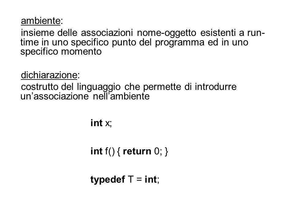 ambiente: insieme delle associazioni nome-oggetto esistenti a run-time in uno specifico punto del programma ed in uno specifico momento.