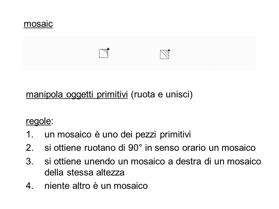 mosaic manipola oggetti primitivi (ruota e unisci) regole: un mosaico è uno dei pezzi primitivi.