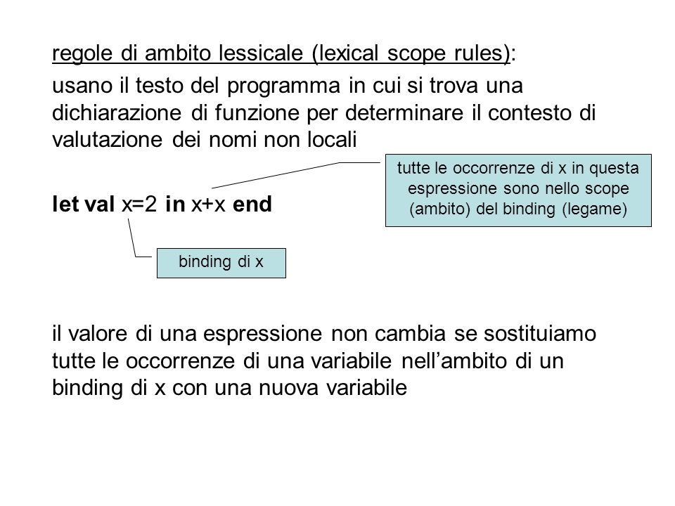 regole di ambito lessicale (lexical scope rules):