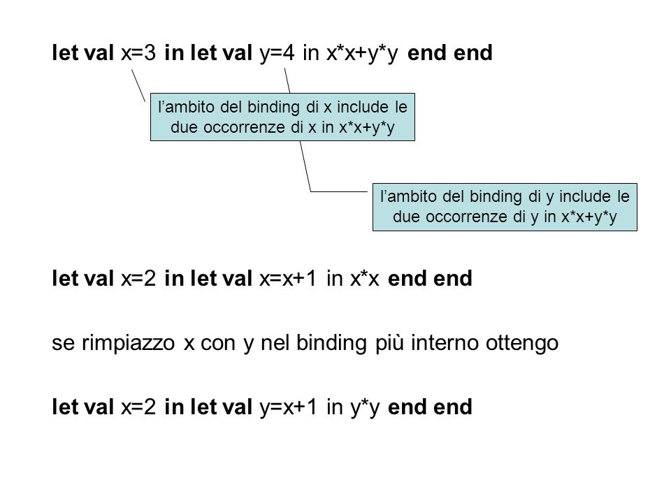 let val x=3 in let val y=4 in x*x+y*y end end