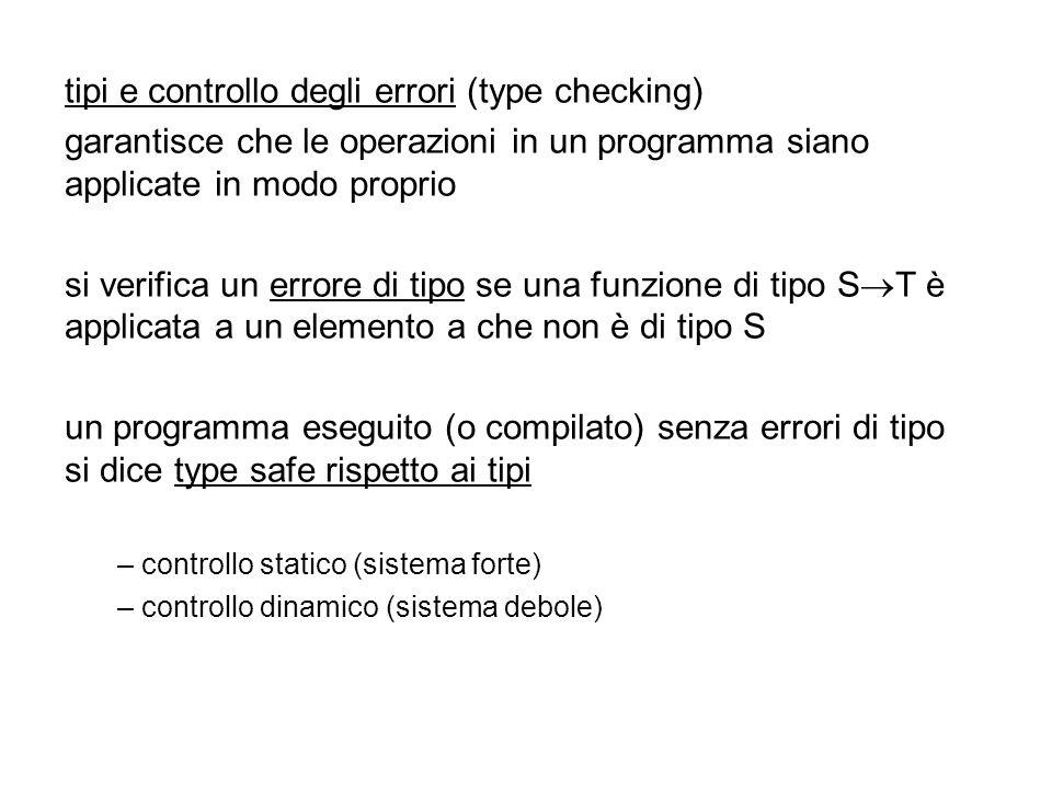 tipi e controllo degli errori (type checking)