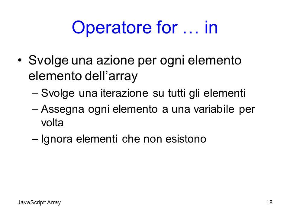 Operatore for … inSvolge una azione per ogni elemento elemento dell'array. Svolge una iterazione su tutti gli eIementi.