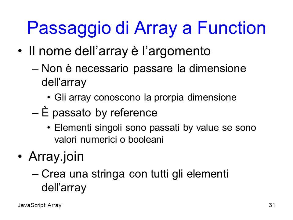 Passaggio di Array a Function