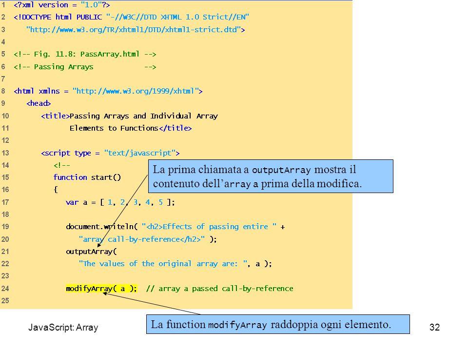 PassArray.html (1 of 3) La prima chiamata a outputArray mostra il contenuto dell'array a prima della modifica.