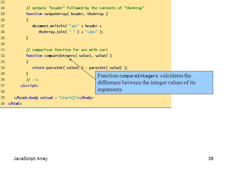Sort.html (2 of 2)Function compareIntegers calculates the difference between the integer values of its arguments.