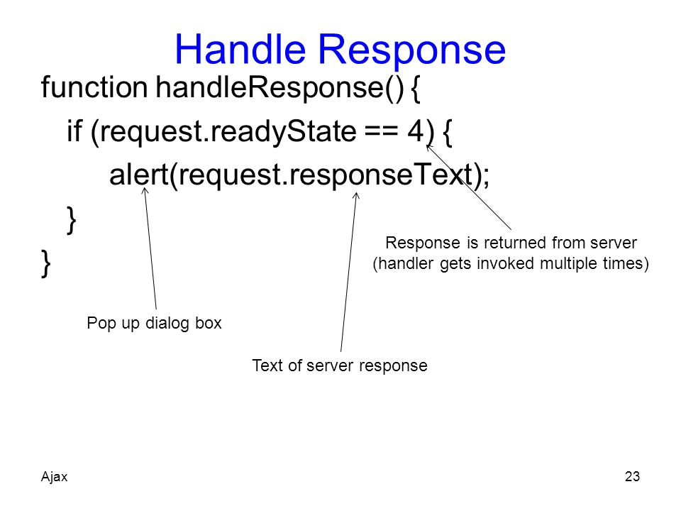 Handle Response function handleResponse() {