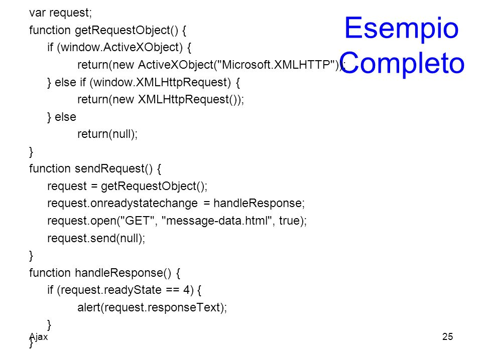 Esempio Completo var request; function getRequestObject() {