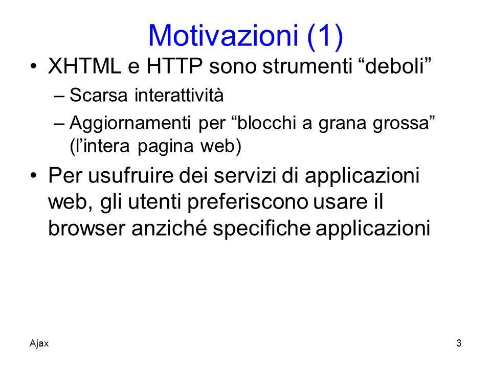 Motivazioni (1) XHTML e HTTP sono strumenti deboli