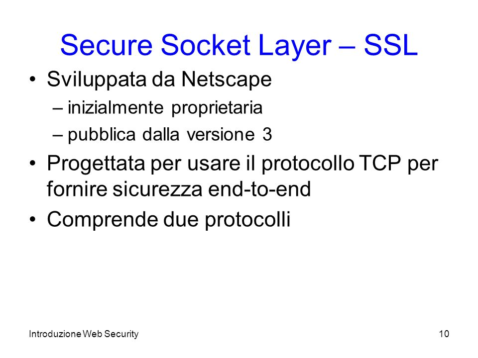Secure Socket Layer – SSL