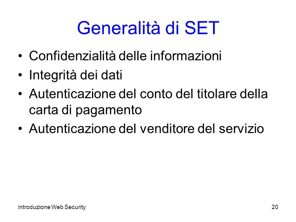 Generalità di SET Confidenzialità delle informazioni