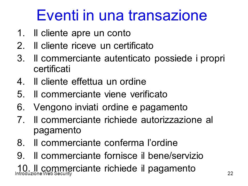 Eventi in una transazione