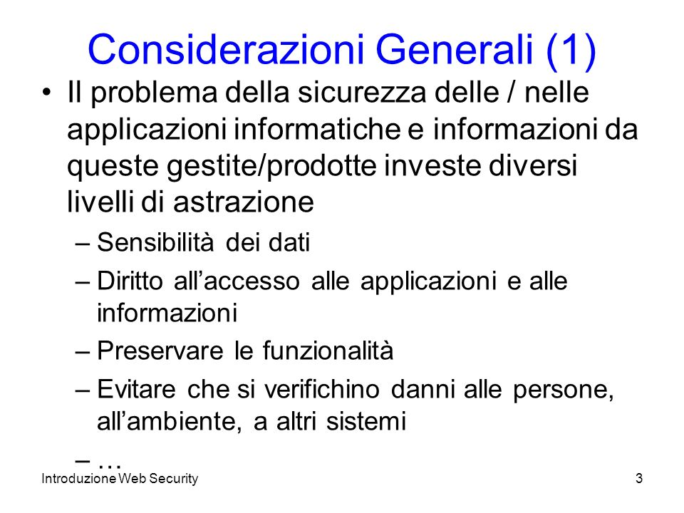 Considerazioni Generali (1)