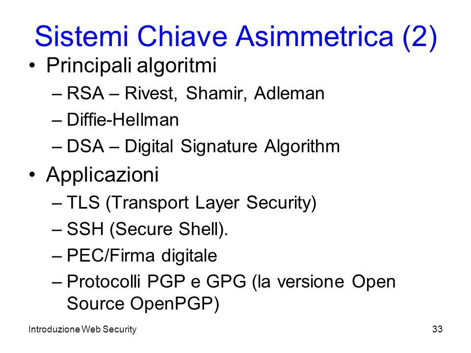 Sistemi Chiave Asimmetrica (2)