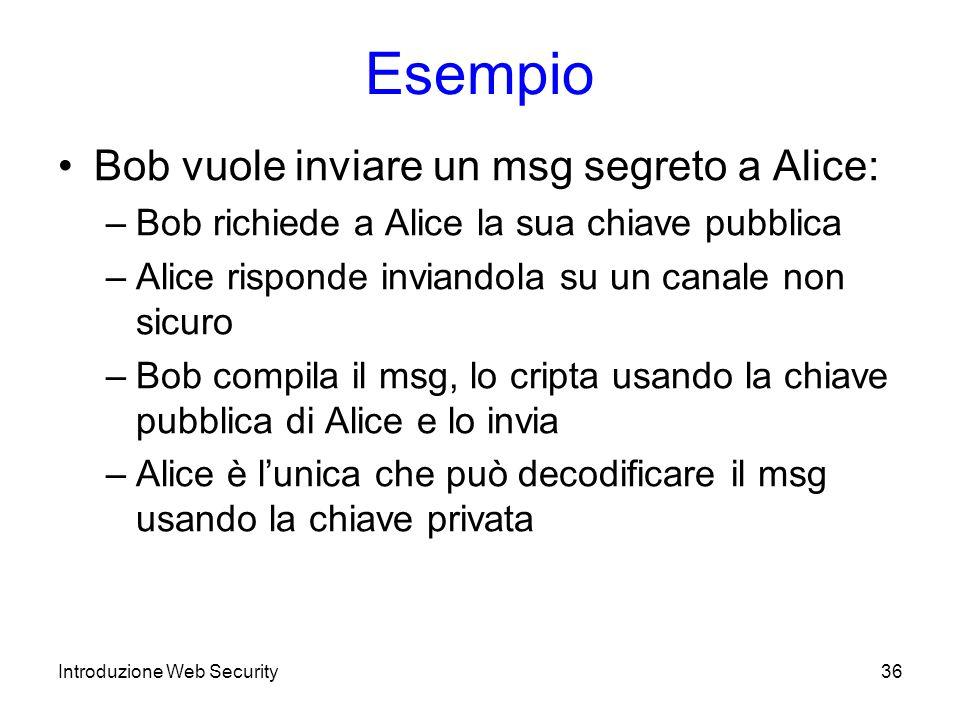 Esempio Bob vuole inviare un msg segreto a Alice: