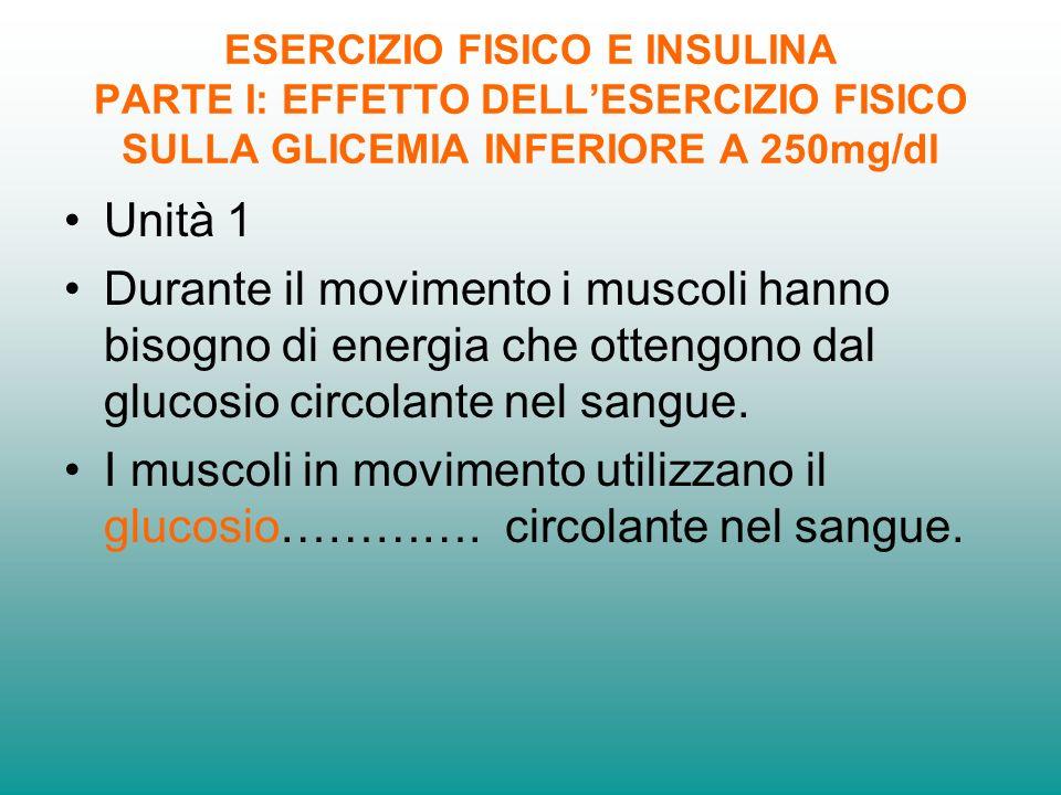 ESERCIZIO FISICO E INSULINA PARTE I: EFFETTO DELL'ESERCIZIO FISICO SULLA GLICEMIA INFERIORE A 250mg/dl