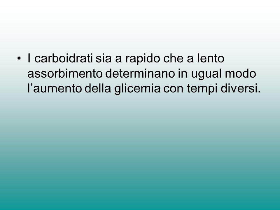 I carboidrati sia a rapido che a lento assorbimento determinano in ugual modo l'aumento della glicemia con tempi diversi.