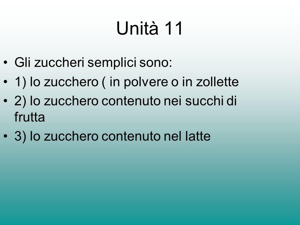 Unità 11 Gli zuccheri semplici sono: