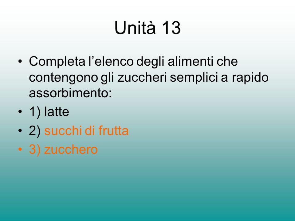 Unità 13 Completa l'elenco degli alimenti che contengono gli zuccheri semplici a rapido assorbimento: