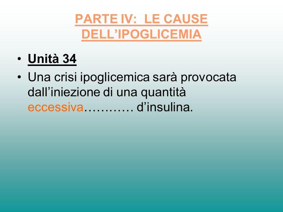 PARTE IV: LE CAUSE DELL'IPOGLICEMIA