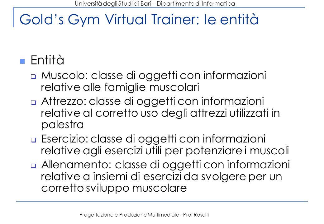 Gold's Gym Virtual Trainer: le entità