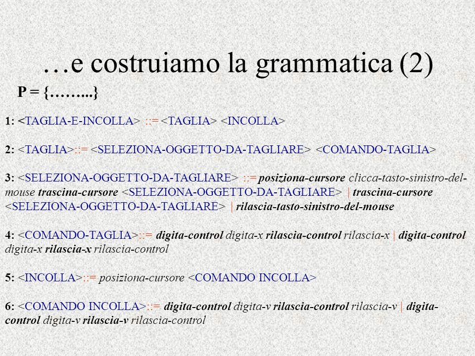 …e costruiamo la grammatica (2)