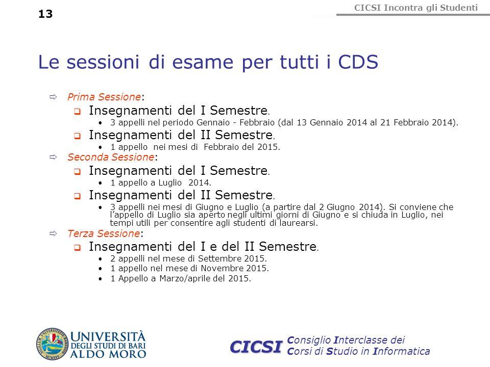Le sessioni di esame per tutti i CDS