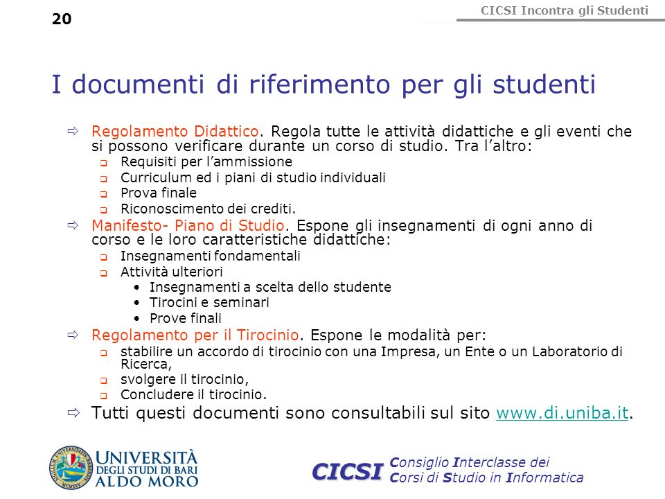 I documenti di riferimento per gli studenti