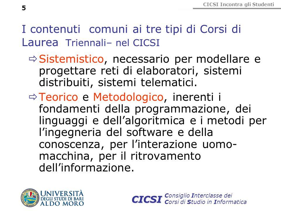 I contenuti comuni ai tre tipi di Corsi di Laurea Triennali– nel CICSI