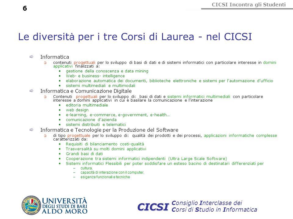 Le diversità per i tre Corsi di Laurea - nel CICSI
