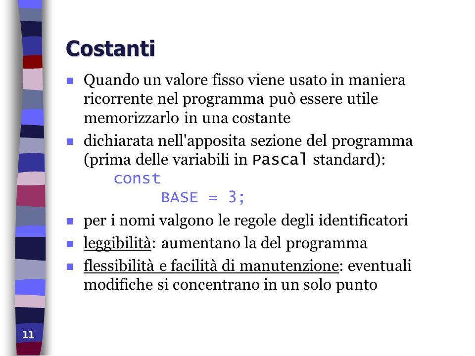 Costanti Quando un valore fisso viene usato in maniera ricorrente nel programma può essere utile memorizzarlo in una costante.