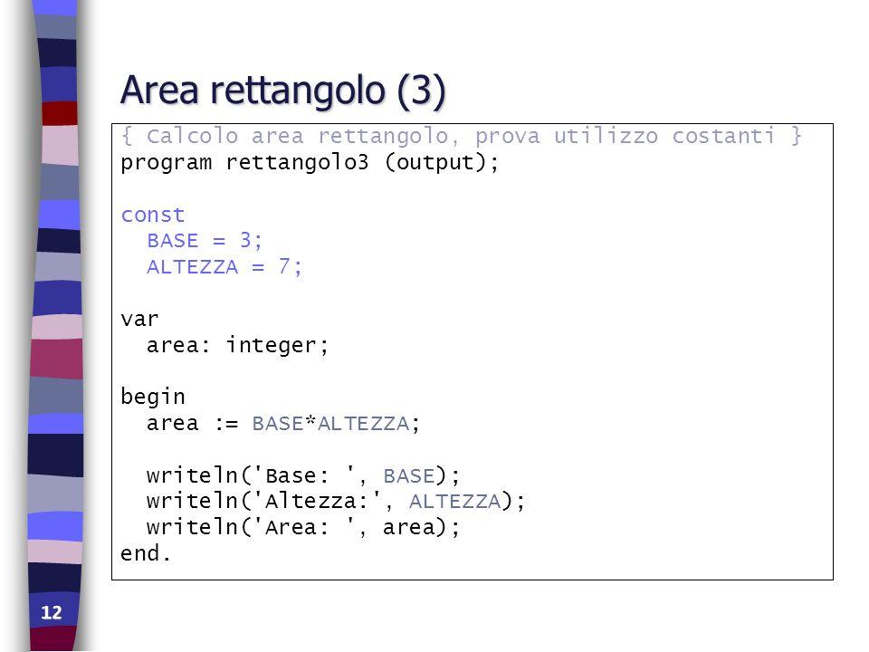 Area rettangolo (3) { Calcolo area rettangolo, prova utilizzo costanti } program rettangolo3 (output);