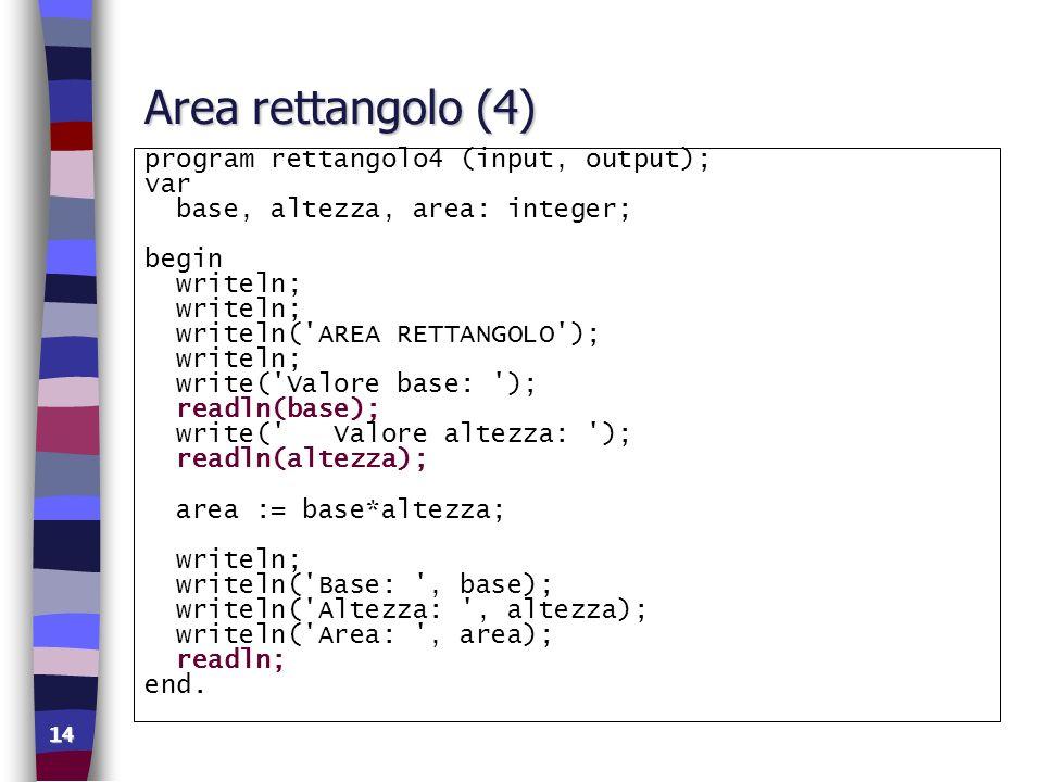 Area rettangolo (4) program rettangolo4 (input, output); var