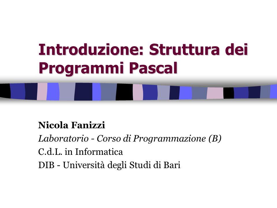 Introduzione: Struttura dei Programmi Pascal