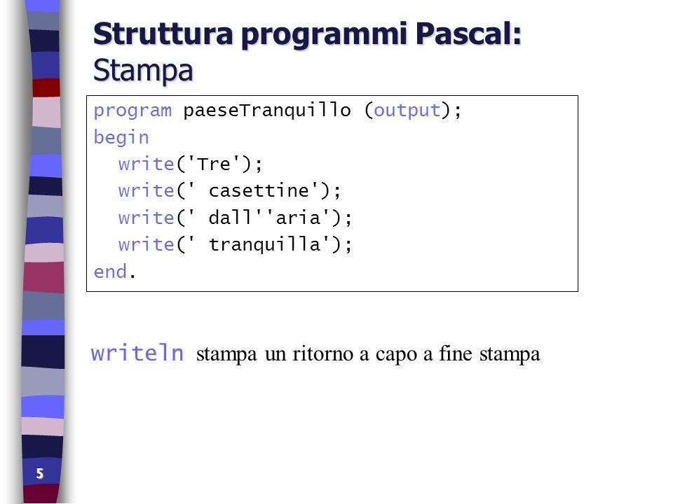Struttura programmi Pascal: Stampa