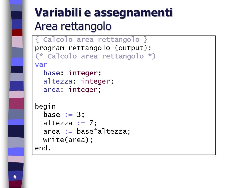 Variabili e assegnamenti Area rettangolo