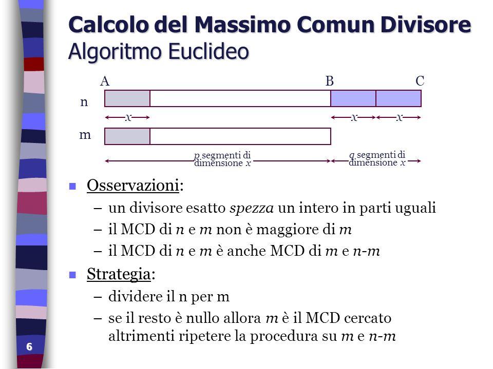 Calcolo del Massimo Comun Divisore Algoritmo Euclideo