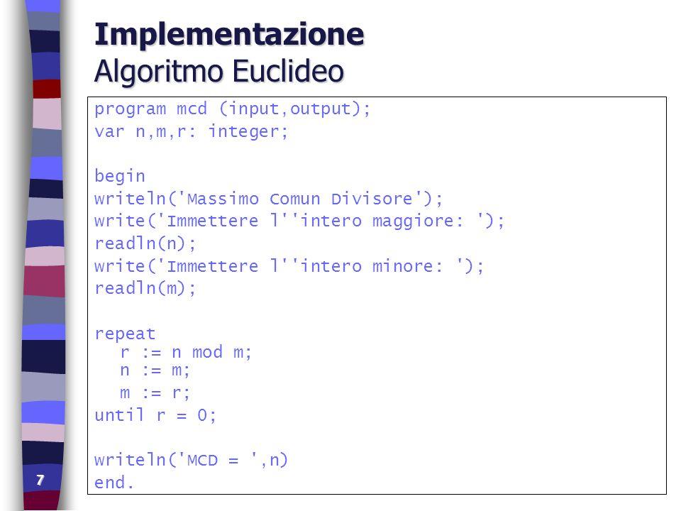 Implementazione Algoritmo Euclideo