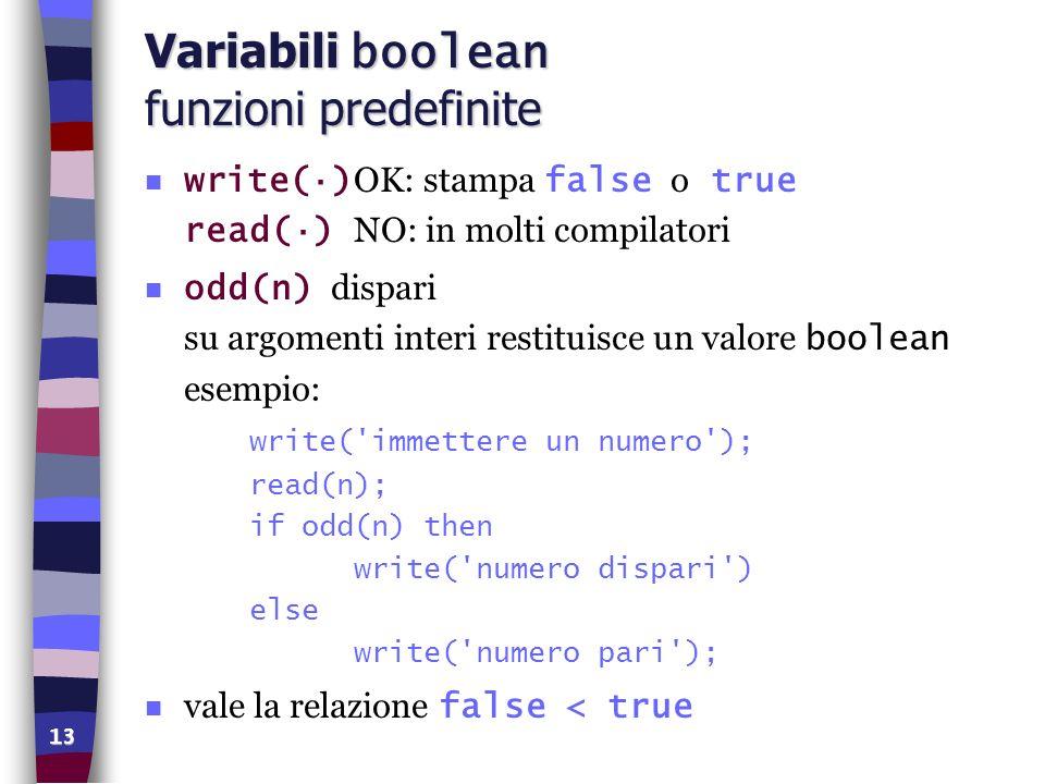 Variabili boolean funzioni predefinite