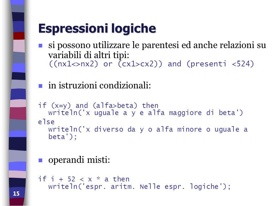 Espressioni logiche si possono utilizzare le parentesi ed anche relazioni su variabili di altri tipi: ((nx1<>nx2) or (cx1>cx2)) and (presenti <524)