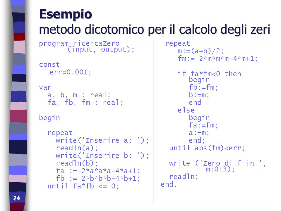 Esempio metodo dicotomico per il calcolo degli zeri