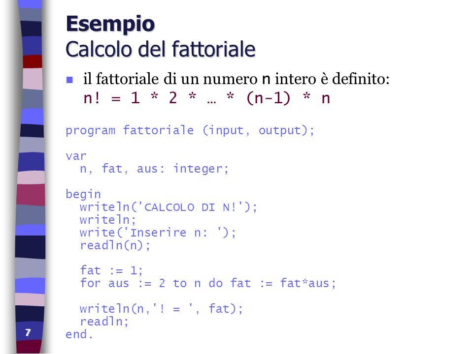Esempio Calcolo del fattoriale